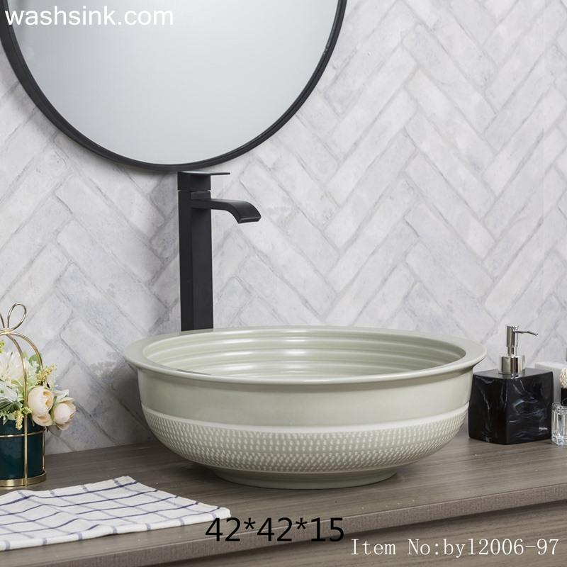 Color glaze gray round ceramic wash basin byl2006-97
