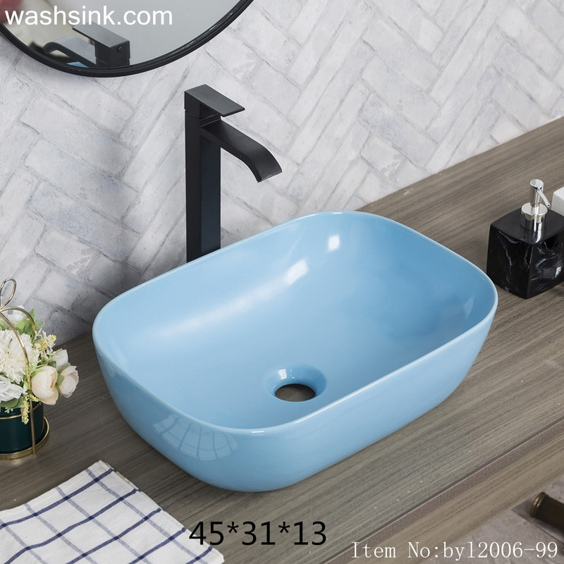 Blue glazed rectangular ceramic table basin byl2006-99