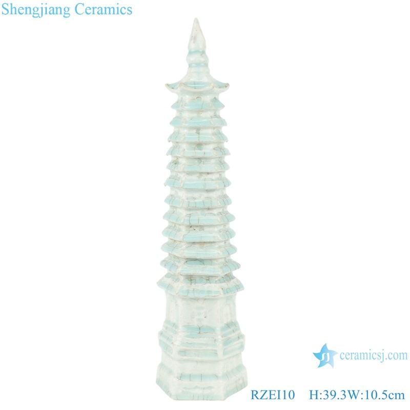 Colored glazed soya-green glazed multi-layered ceramic pagoda RZEI10