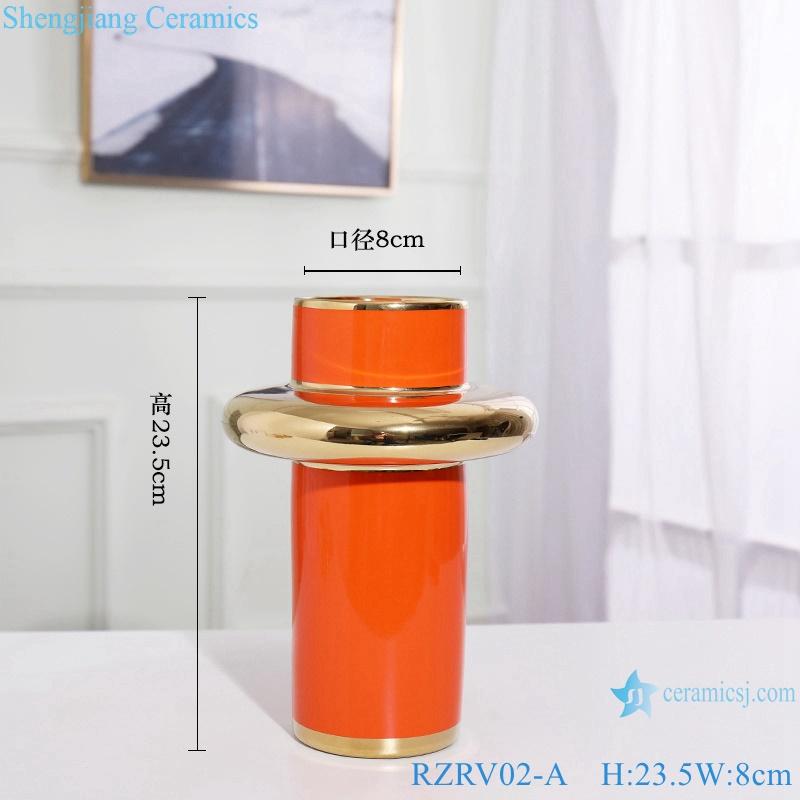 Handmade colour glazed gilt decorative vase RZRV02-A
