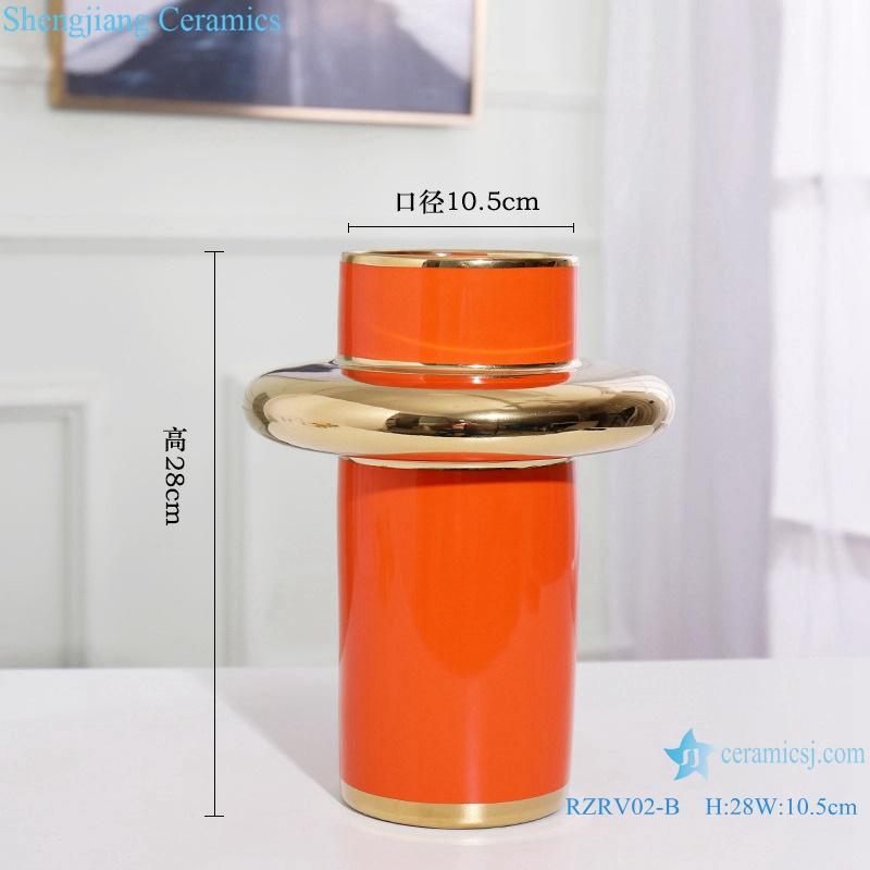 Handmade colour glazed gilt decorative vase RZRV02-B