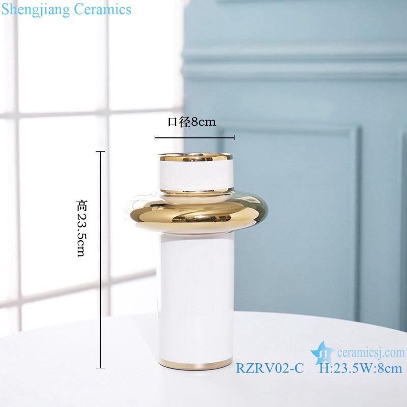 Handmade colour glazed gilt white decorative vase RZRV02-C