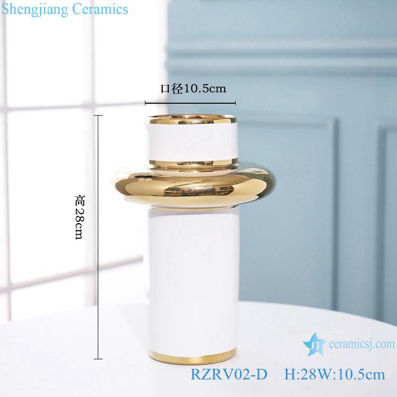 Handmade colour glazed gilt white decorative vase RZRV02-D