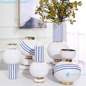 RZRV03-A-B-C-D-E Handmade striped gold-plated porcelain vases