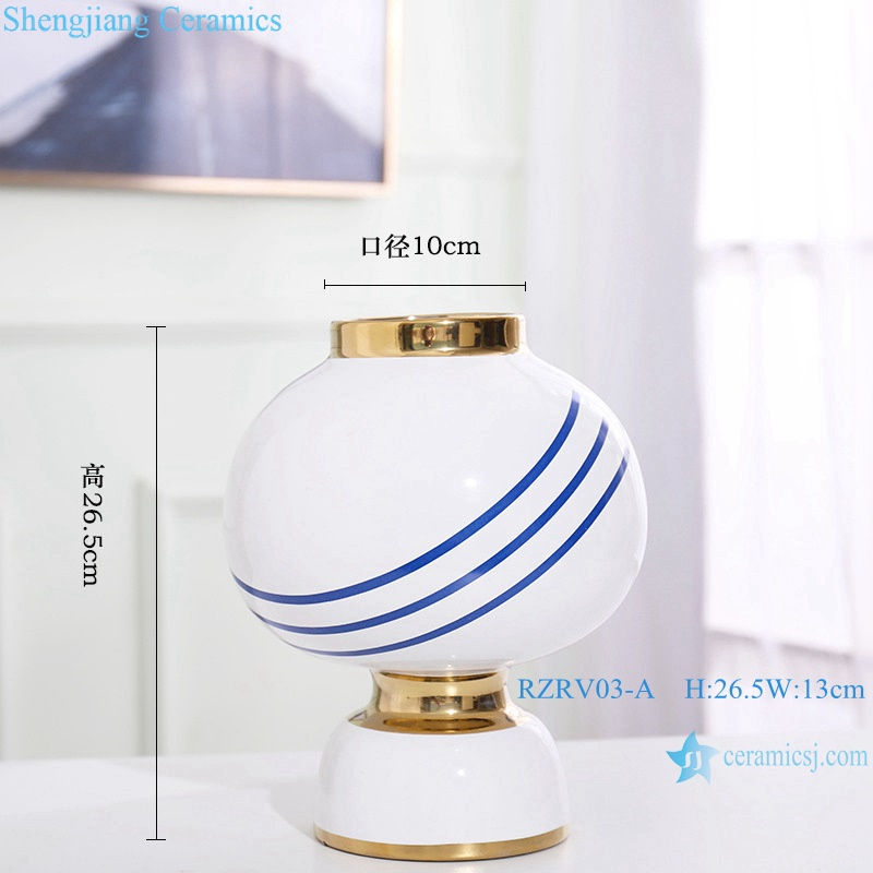 Handmade striped gold-plated ceramic vases RZRV03-A