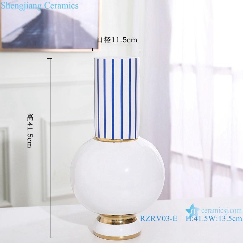 Handmade striped gold-plated ceramic vases RZRV03-E