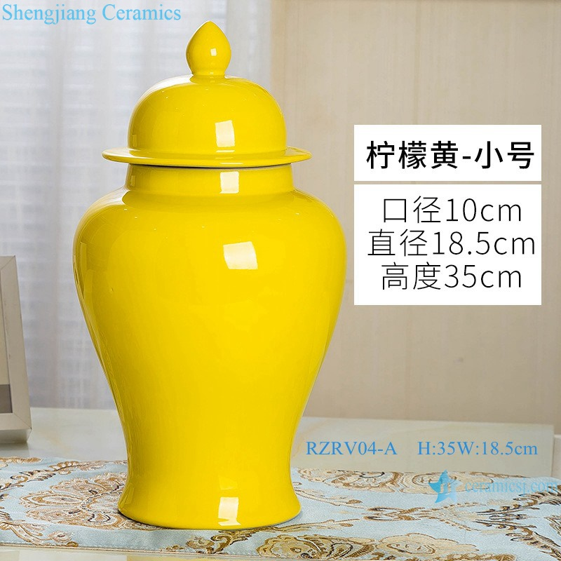 Handmade single color glazed yellow general tank RZRV04-A