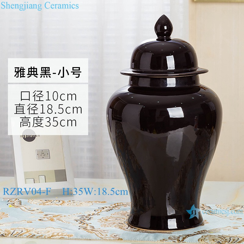Handmade single color glazed black general pot RZRV04-F