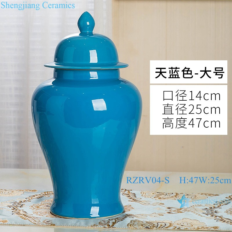 Handmade single color glazed blue ceramic general pot RZRV04-S