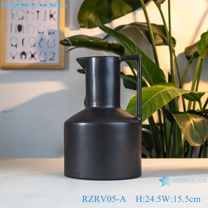 Decorative flower vases black porcelain vases RZRV05-A