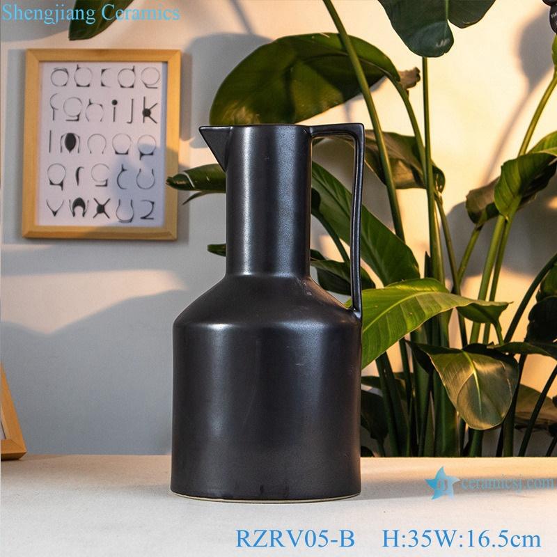 Decorative flower vases black ceramic vases RZRV05-B