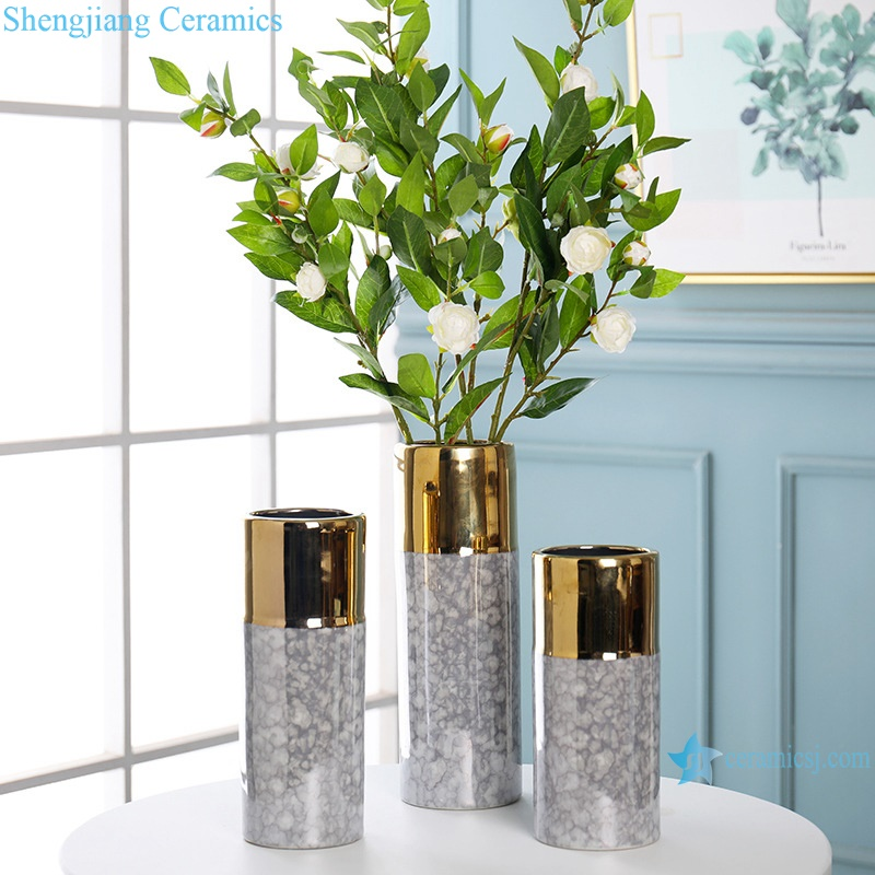 Living room coffee table decorated gold-plated ceramic vases RZRV06-B-C