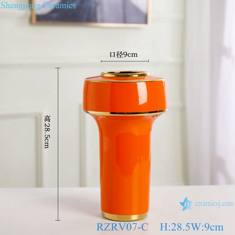 Color glaze gilt flower arrangement abnormity vase RZRV07-C