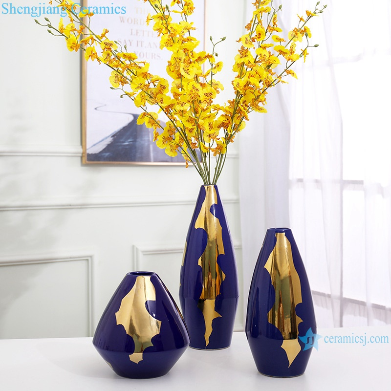 Colour glaze gold plated in blue hydroponic vase RZRV08-A-B-C