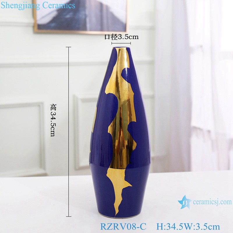 Colour glaze gold plated in blue hydroponic ceramic vase RZRV08-C