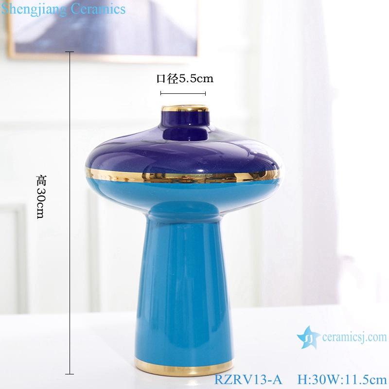 Color glaze dry flower arrangement painted gold edge blue ceramic vase RZRV13-A