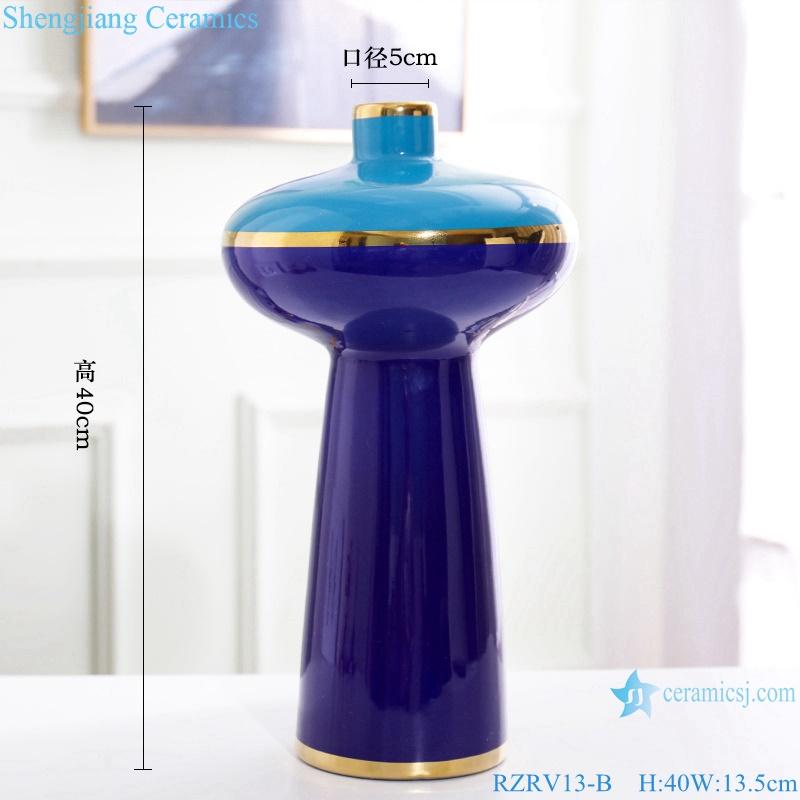 Color glaze dry flower arrangement painted gold edge blue ceramic vase RZRV13-B