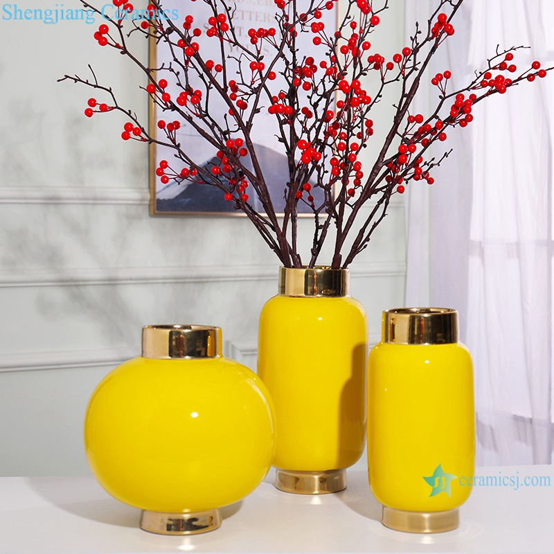 Colour glazed floral vase gold plated yellow ceramic vases RZRV14-A-B-C