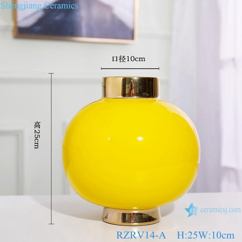 Colour glazed floral vase gold plated yellow porcelain vase RZRV14-A