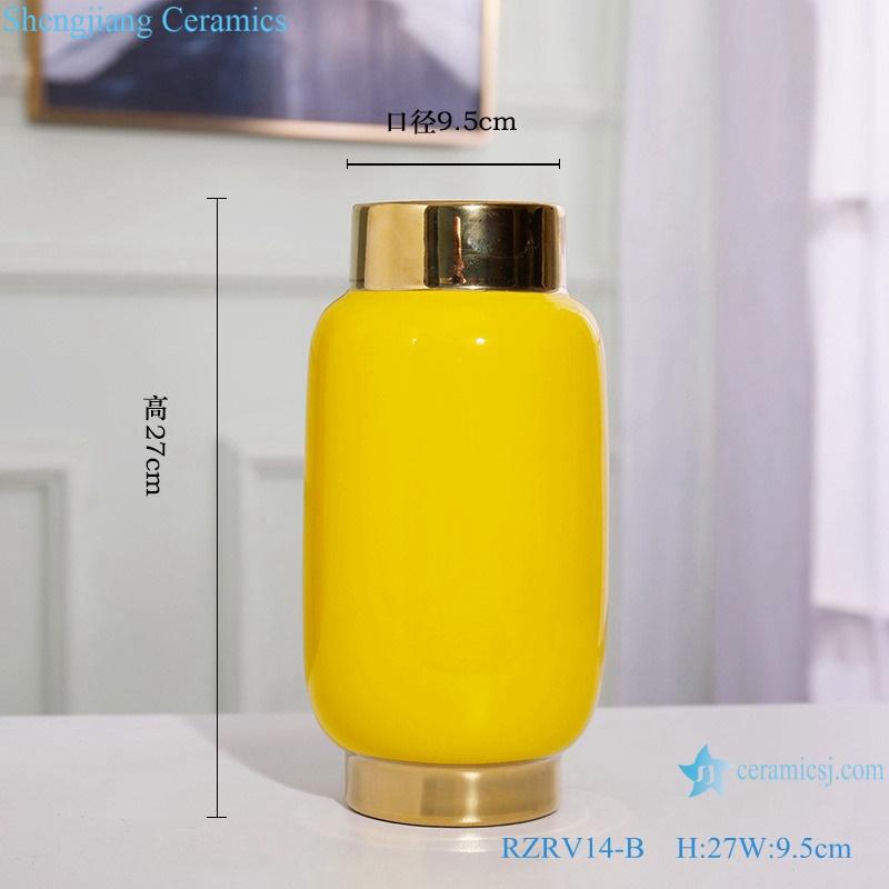 Colour glazed floral vase gold plated yellow porcelain vase RZRV14-B