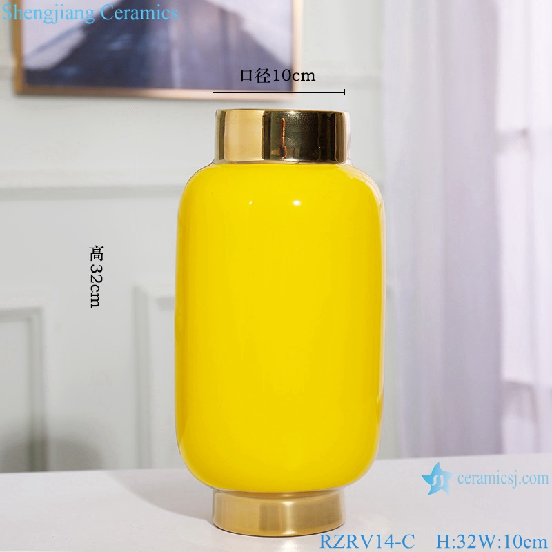Colour glazed floral vase gold plated yellow porcelain vase RZRV14-C