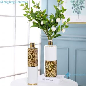 RZRV15-A-B Leopard-print light luxury gold-plated decorative white vase