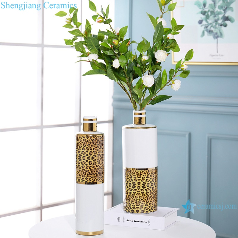 Leopard-print light luxury gold-plated decorative porcelain white vase RZRV15-A-B