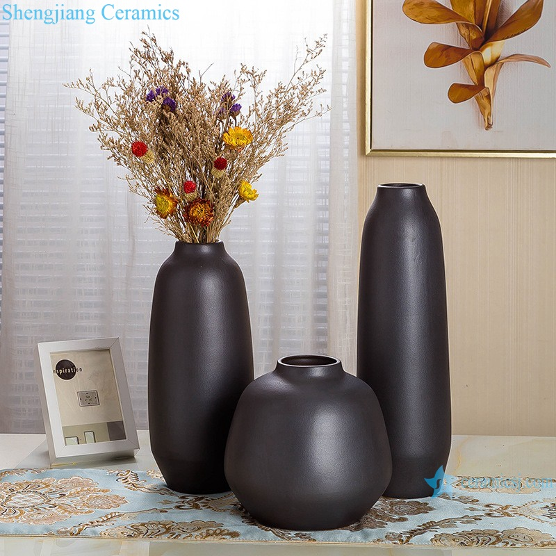 Modern simple craft decorative black ceramic vase RZRV17-A-B-C
