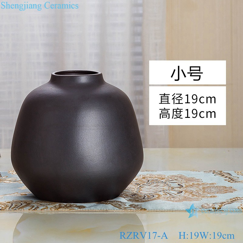 Modern simple craft decorative black ceramic vase RZRV17-A