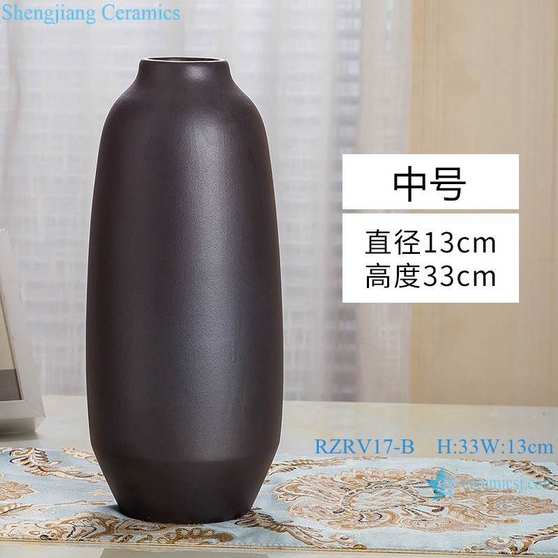 Modern simple craft decorative black ceramic vase RZRV17-B