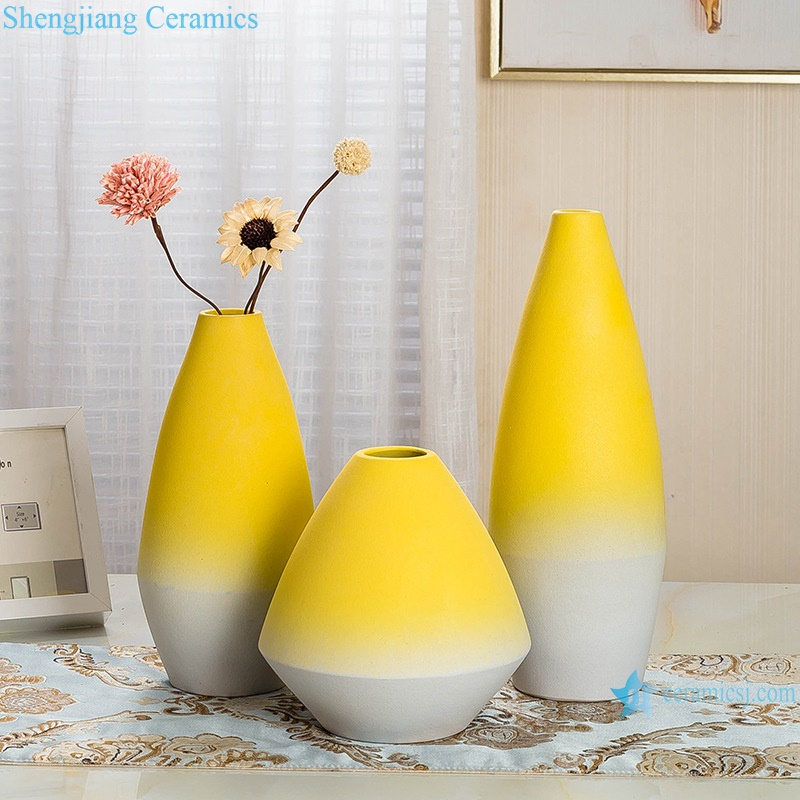 Yellow glaze ceramic vase with three pieces set RZRV18-A-B-C