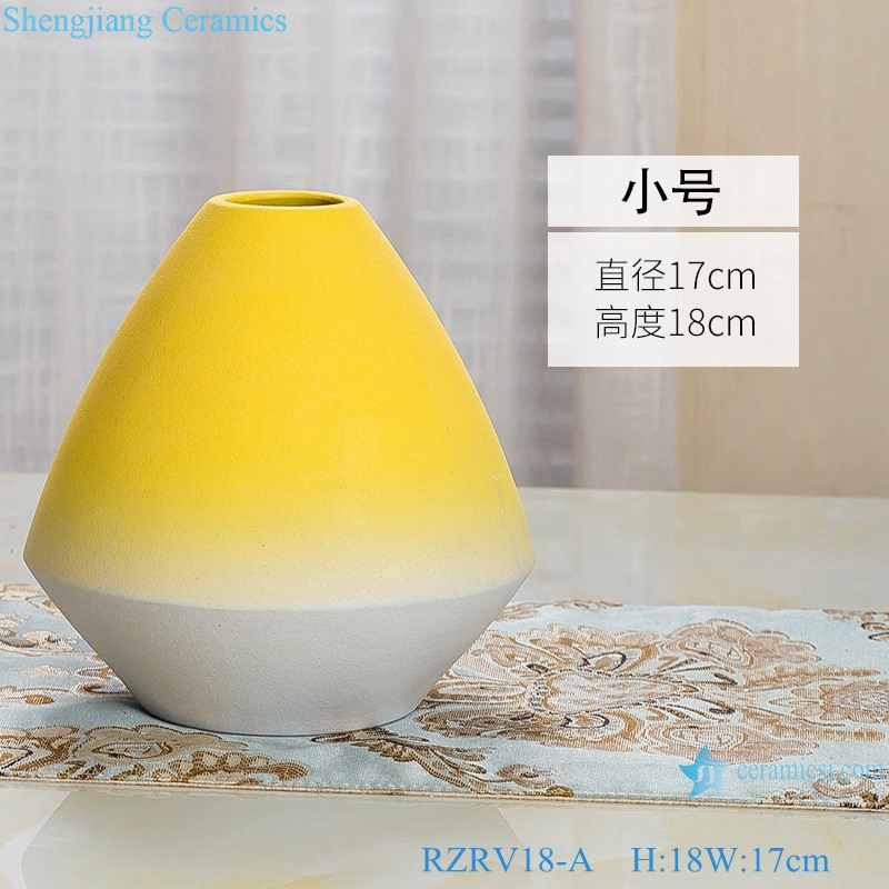 Yellow glaze ceramic vase with three pieces set RZRV18-A