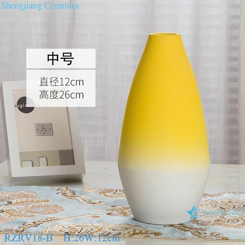 Yellow glaze porcelain vase with three pieces set RZRV18-B