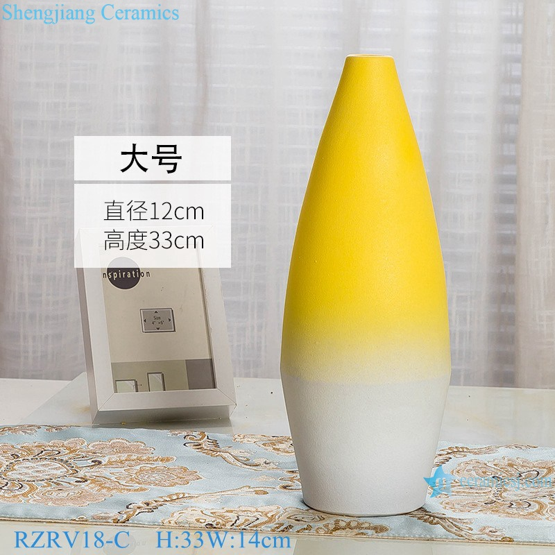 Yellow glaze porcelain vase with three pieces set RZRV18-C