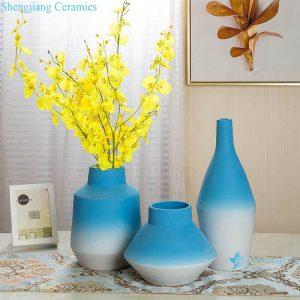 RZRV20-A-B-C Color glaze decorative blue wide mouth ceramic vase
