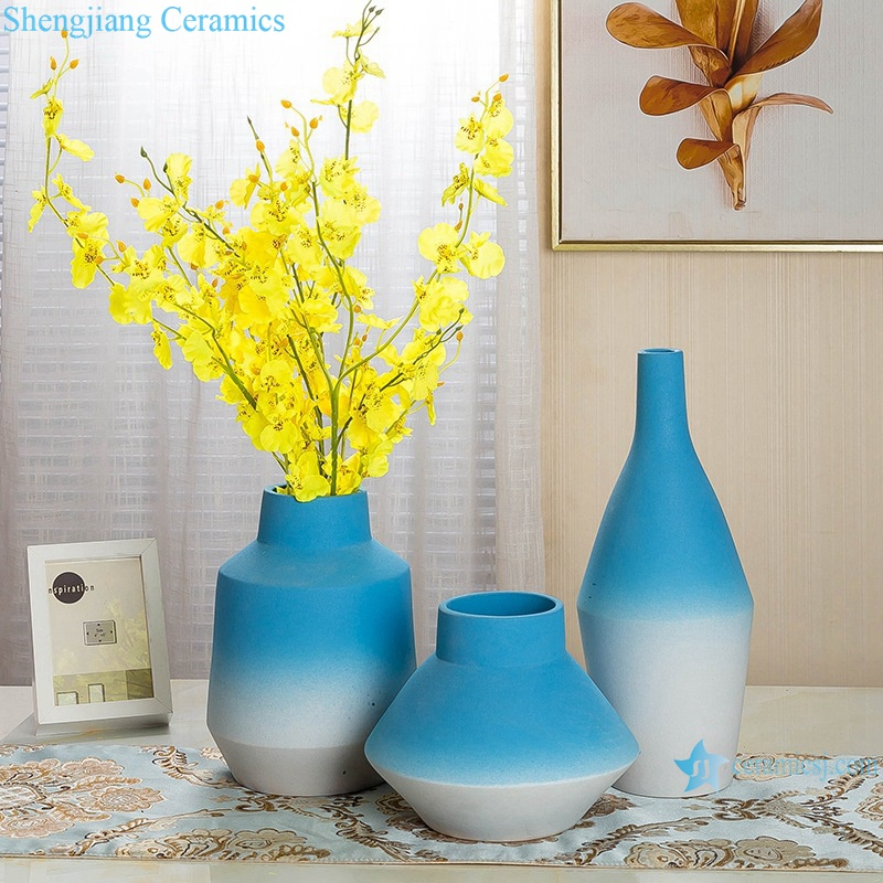 Color glaze decorative blue wide mouth porcelain vase RZRV20-A-B-C