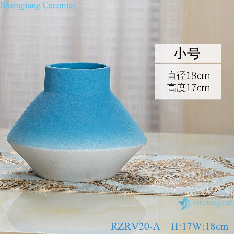 Color glaze decorative blue wide mouth porcelain vases RZRV20-A