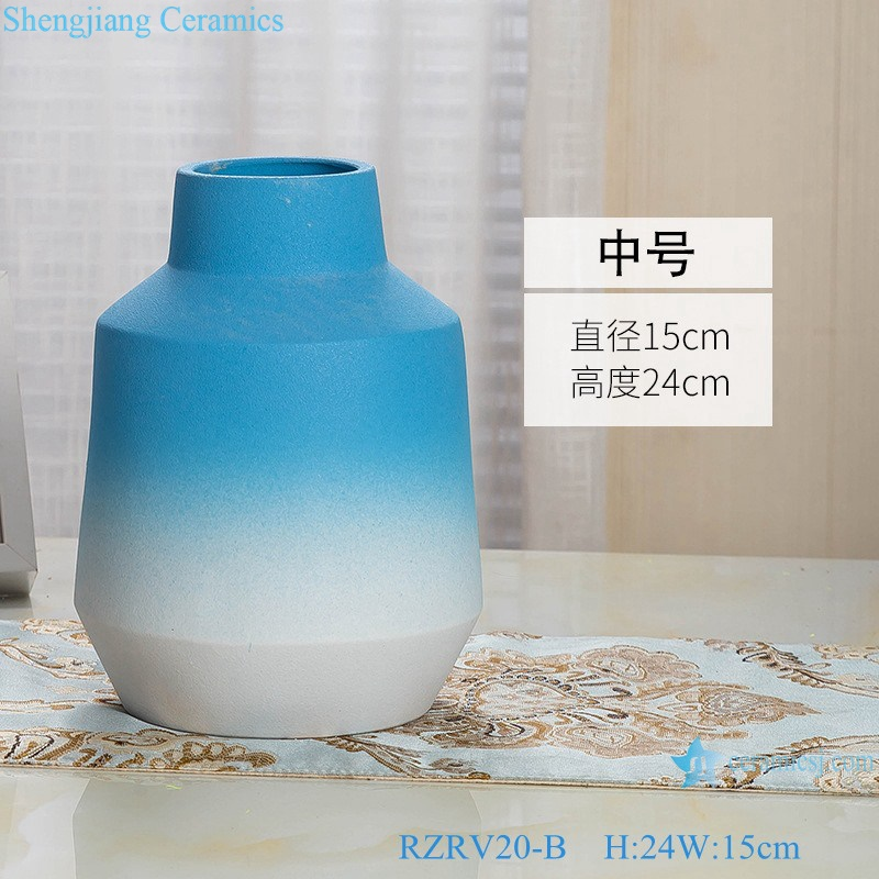 Color glaze decorative blue wide mouth porcelain vase RZRV20-B