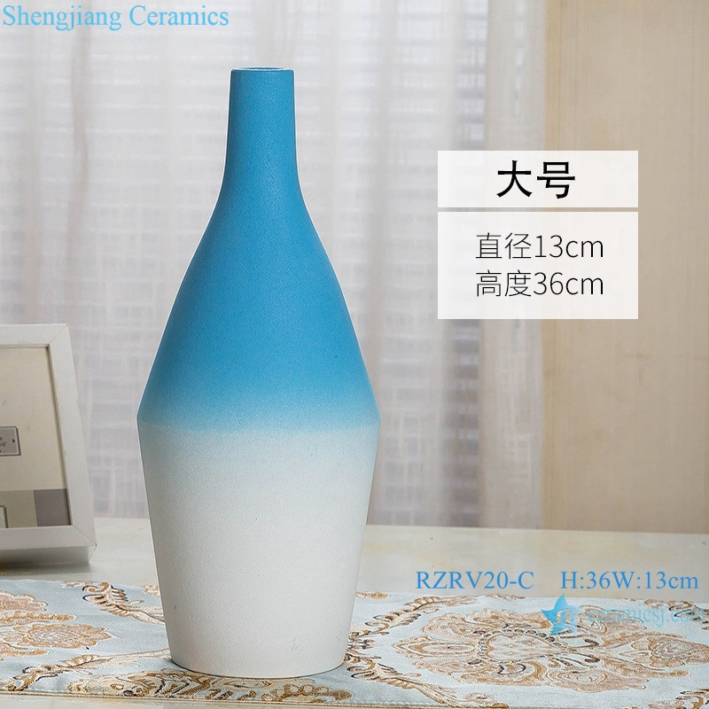 Color glaze decorative blue wide mouth porcelain vase RZRV20-C