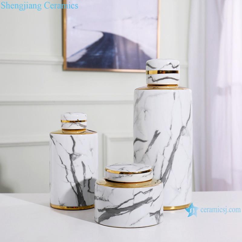 Gold-plated ink-color imitation flower porcelain vase RZRV22-a-b-c