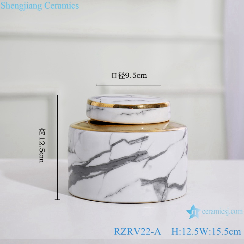 Gold-plated ink-color imitation flower porcelain vase RZRV22-A