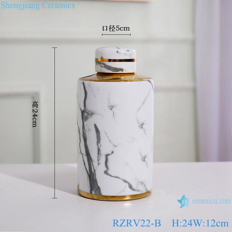 Gold-plated ink-color imitation flower porcelain vase RZRV22-B