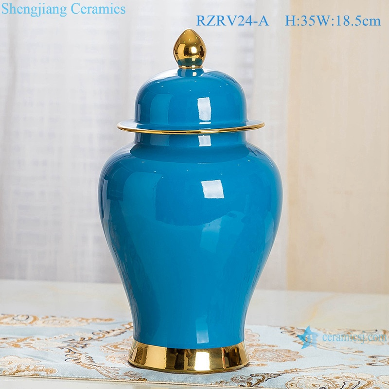 Blue porcelain general pot decorated with gold trim RZRV24-A