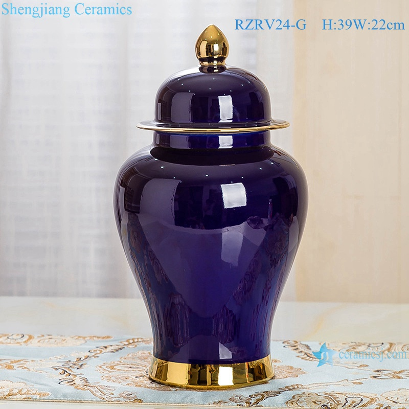 Purple porcelain general pot decorated with gold trim RZRV24-G