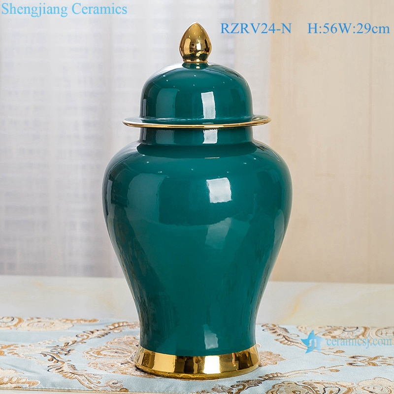Green porcelain general pot decorated with gold trim RZRV24-M