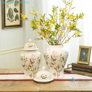 RZRV25-A-B-C General jar flower bird design ceramic vase