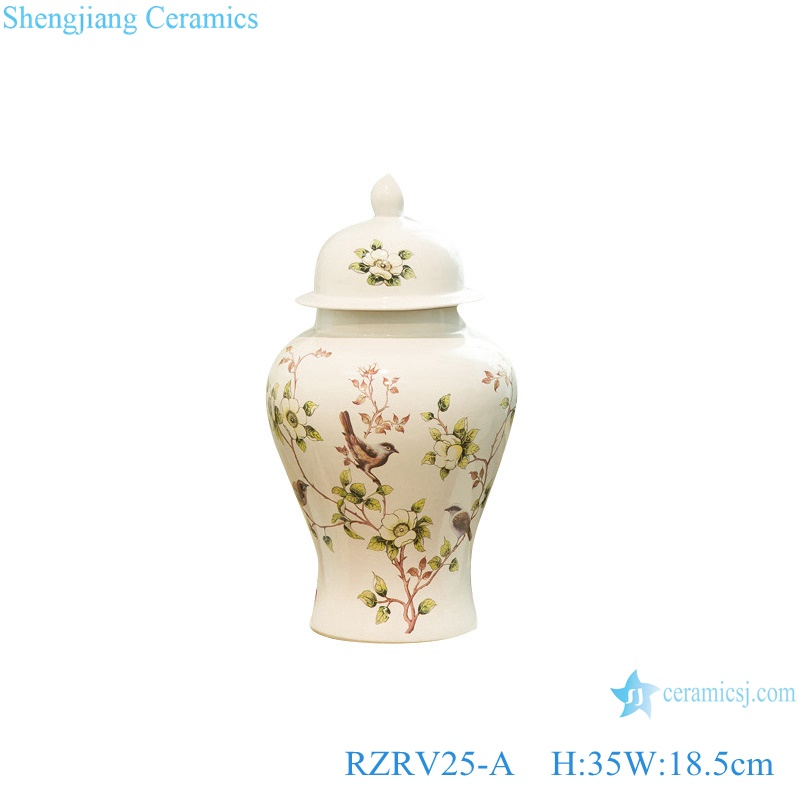 General jar flower bird pattern porcelain vase RZRV25-A