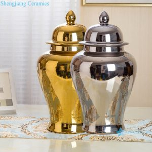 RZRV27 Series Single color glazed gold ceramic general pot decoration