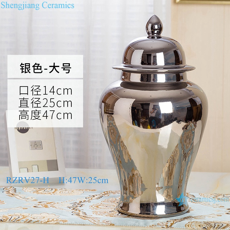 Single color glazed silver ceramic general pot RZRV27-H
