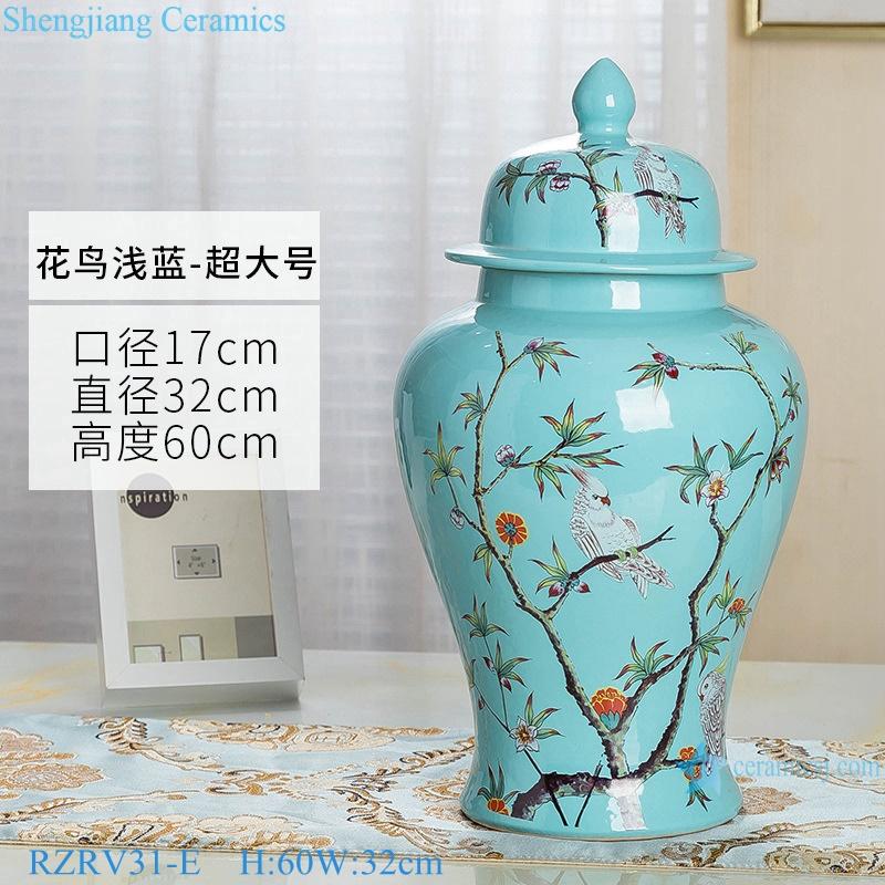 Color glaze light blue decorative flower bird porcelain general jar RZRV31-E